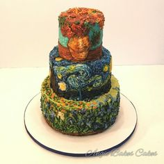 all buttercream decorated Van Gogh cake Sunflowers, Starry Night, Irises