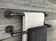 Double Towel Holder Small Bathroom Industrial Towel Bar You are in the right place about towel rack Bathroom Shelf Decor, Towel Rack Bathroom, Small Bathroom, Bathroom Closet, Bathroom Ideas, Hanging Bath Towels, Bathroom Plants, Bathroom Designs, Towel Rod