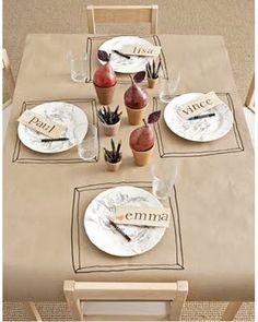 idée géniale des sous-assiettes dessinées sur nappe!