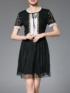 Black Guipure Lace A-line Short Sleeve Ruffled Plus Size Mini Dress
