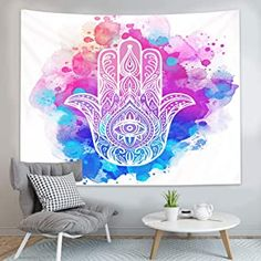 Amazon.com: hamsas Colorful Tapestry, Hamsa Hand, Tapestry Wall Hanging, Digital Prints, Printing, Fabric, Technology, Pattern, 3d