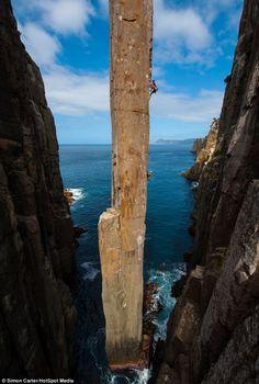 The Totem Pole in Tasmania,. The Totem Pole in Tasmania, Australia. Photo by Simon Carter. -The Totem Pole in Tasmania, Australia. Photo by Simon Carter. Ice Climbing, Mountain Climbing, Climbing Girl, Boulder Climbing, Sport Climbing, Mountaineering, Adventure Is Out There, Australia Travel, Amazing Nature