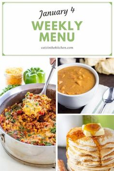 Weekly Menu for the Week of Jan 4| #menu #weeklymenu #dinnerideas #recipes #mealplanning #mealplan Pizza Recipes, Dinner Recipes, Chicken Rigatoni, Light Cakes, Baked Turkey, Family Meals, Family Recipes, Weekly Menu, No Cook Meals