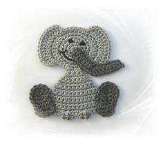 Häkelapplikation Elefant,