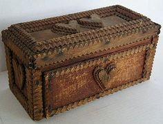 Great Love Token tramp art box with hearts - antique.
