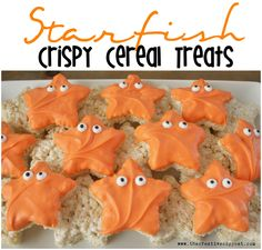 Starfish Crispy Cereal Treats - simple and fun treats perfect for an ocean, nemo, dory or ariel the little mermaid themed party