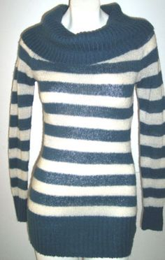 Forever 21 Sweater S Blue Cream Striped Cowl Neck LONG Open Weave TRENDY Top 36B