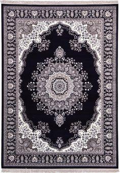 Black Mashad Design Area Rug
