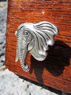 Drawer knobs with Elephant side profile in Silver Metal (MK101) on Etsy, $7.00