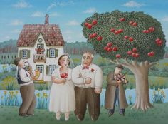 Love 'Under the Apple Tree!' Painting by AImo Katajainen of Finland, 30cm x 40cm,  Acrylic on canvas | Naive Art Online