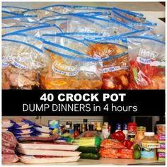 40 Crock Pot Dump Dinners in 4 Hours (breakfast crockpot recipes freezer cooking) Crockpot Dump Recipes, Slow Cooker Freezer Meals, Make Ahead Freezer Meals, Crock Pot Freezer, Freezer Cooking, Slow Cooker Recipes, Cooking Recipes, Freezer Recipes, Cooking Tips