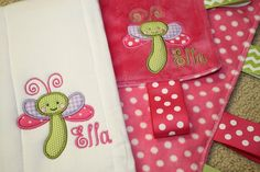 Custom Personalized Dragonfly Embroidered Applique Sensory Ribbon Blanket in Bright Pink and Burp Cloth by SeamsDivine on Etsy