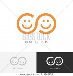Best friends logo - two smiling faces and infinity symbol Poster Friendship, togetherness and partnership vector icon Poster Poster. Friend Symbol, Friend Logo, Smile Logo, Smile Icon, Lab Logo, Dental Logo, Branding Design, Ux Design, Infinity Symbol