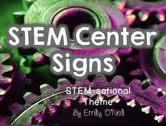 A fantastic way to integrate a STEM theme into the classroom! I have included large and small signs for a variety of centers. Centers included: Science Centers: - Circuit Center - Science Game Center - Space Center - Sink or Float Center - Fun with Mirrors Center - Garden Center - Weather