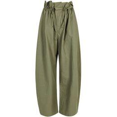 Stella McCartney Benni Drawstring Shell Trousers - Size 10 ($825) ❤ liked on Polyvore featuring pants, drawstring waist pants, green trousers, drawcord pants, green pants and drawstring trousers
