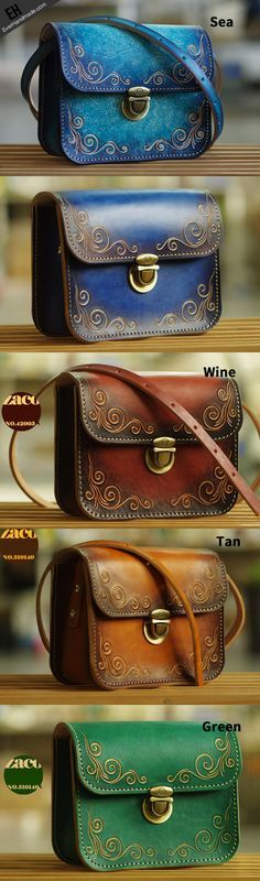 Handmade leather shoulder bag crossbody bag purse vintage carved green for her                                                                                                                                                                                 More