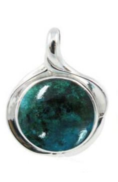 Sterling Silver Pendant with Round Chrysocolla Stone (BTS-NP9879/CRY/R). Made from quality .925 sterling silver. Stylish design. 30 day satisfaction guarantee.
