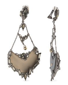 image of Baguette Warm Grey Lucite Chandelier Earrings