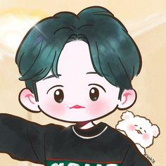 Exo Cartoon, Cartoon Art, Cartoon Cookie, Baekhyun Fanart, Chibi Body, Exo Anime, Exo Fan Art, Cute Chibi, Kawaii Cute