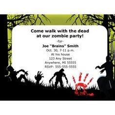 Free Printable Zombies Party Invitation | Zombies!!! | Pinterest ...