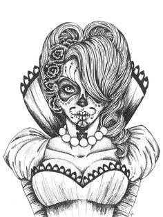 day of the dead coloring pages | vicky - Day of the Dead Collection | Illustration | Mixed media