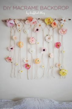 DIY Easy Macramé Wall Hanging, 2 Different Ways Part 1 ⋆ Ruffled Create this fun and gorgeous macrame backdrop using Afloral& premium silk florals! Hanging Flower Wall, Boho Wall Hanging, Diy Backdrop, Flower Backdrop, Backdrops, Flower Crafts, Diy Flowers, Flower Ideas, Flower Designs