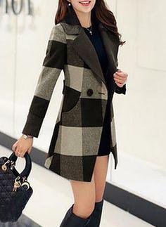 Wool & Wool Blend As Picture Long Long Sleeve Lapel Coats & Jackets