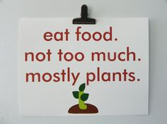 Eat Food. Michael Pollan. Check him out!