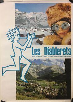 VAUD Station de ski des Diablerets affiche originale vintage vers 1960 Vintage Ski, Vintage Posters, Original Vintage, Switzerland, Skiing, Yoga, Movies, Movie Posters, Ebay
