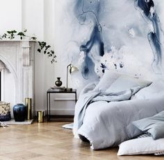 Watercolour feature wall