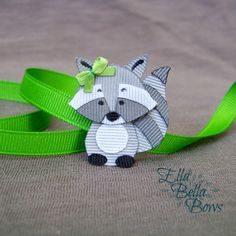 Woodland Raccoon Ribbon Sculpture Hair Clip, Woodland Creatures Collection, Forest Animal Hair Bow