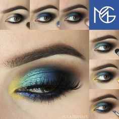 Blue and Yellow Eye Makeup for summer