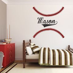 Customize Your Kidsu0027 Room With The Baseball Stitch Wall Decals From Prime  Decals! Removable Baseball Stitch Decals Can Be Personalized For Athletes!