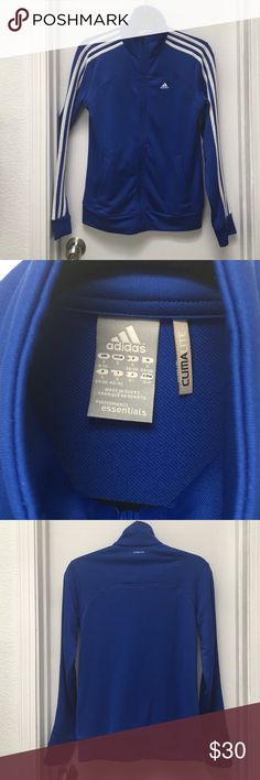 Adidas jacket size S Gently used adidas jacket size S chest measurements are 18inches across. Measurements from the top of the collar (zipped) to bottom hem is 25inches arm length is 24inches from shoulder seam. Adidas Jackets & Coats