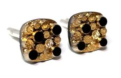 Cufflinks with Gold Sterling Silver Antique glass