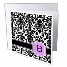 3dRose Personal initial B monogrammed pink black and white damask pattern girly stylish personalized letter, Greeting Cards, 6 x 6 inches, set of 6