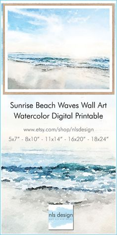 Watercolor painting of ocean beach waves available as a digital download printable. Perfect for a coastal or nautical home decor. Kitchen Art Prints, Art Prints For Home, Abstract Landscape, Landscape Paintings, Abstract Art, Beach Waves, Ocean Beach, Art Prints Quotes, Wall Art Prints