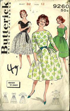 Butterick Pattern 9260 Misses Party Dress - 1960s - Vintage Sewing Pattern. $9.99, via Etsy.