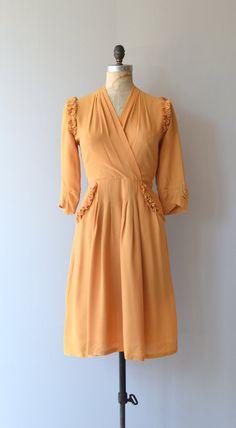 Marigolden dress vintage 1940s dress mustard rayon by DearGolden