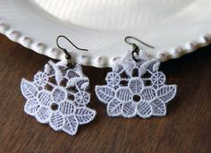Romantic white lace earrings