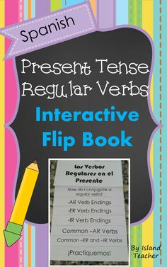 Present tense regular verbs flip book. Use to introduce or review verbs.