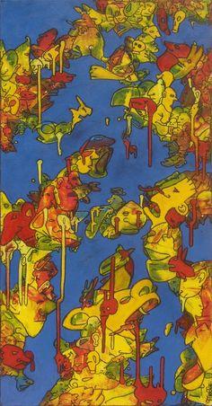 Burn Août - 40x80 cm,  Acrylique et pastel à l'huile sur toile