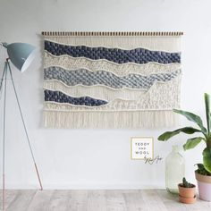 """$975 USD - This handmade contemporary Macrame Wall Hanging will be able to instantly elevate your decor and the different textures add a certain calmness to your room. D I M E N S I O N S Width: 55"""" (140 cm) Height: 33.5"""" (85 cm) It takes roughly 6 - 8 days to create this piece. Free worldwide shipping. Macrame Design, Macrame Art, Macrame Projects, Weaving Wall Hanging, Large Macrame Wall Hanging, Tapestry Weaving, Wall Tapestry, Art Blue, Floating"""