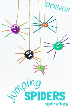 Boing! Check out this jumping spider craft! These are the cutest, bounciest, little spiders ever! So quick, easy and cheap for kids to make and play with.
