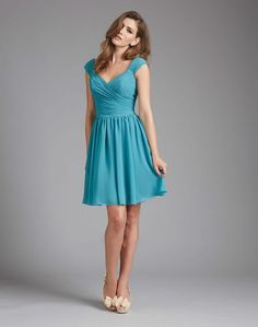 Discount Cap Sleeve Sweetheart Blue Chiffon Bridesmaid DressFree Measurement