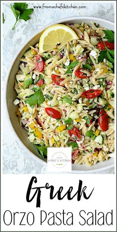 Greek Orzo Pasta Salad is full of fresh, crunchy vegetables and bright, summery flavors! It's the perfect crowd-pleasing salad to take to your summer get-toget Side Salad Recipes, Pasta Salad Recipes, Side Dish Recipes, Gourmet Recipes, Dinner Recipes, Cooking Recipes, Healthy Recipes, Eat Healthy, Healthy Dishes