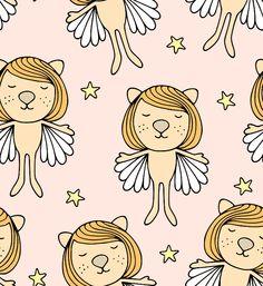 Rosa Baby Löwen Katzen Engel Kinder Stoff von fummelhummel auf stoffn.de bunt Himmel Sterne Weihnachten Mädchen Prinzessin Elfe orange grau beige braun weiß gelb Tiere retro Sandra Thissen Hono Lulu Sandra Thissen