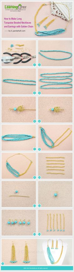 How to Make Long Turquoise Beaded Necklaces and Earrings with Golden Chain