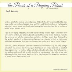 Prayer for Releasing Your Children (by Stormie Omartian) - Day 2 of the Power of a Praying Parent