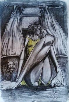 "Saatchi Art Artist Lize Du Plessis; Drawing, ""Yellow dress on a Rainy Day"" #art"